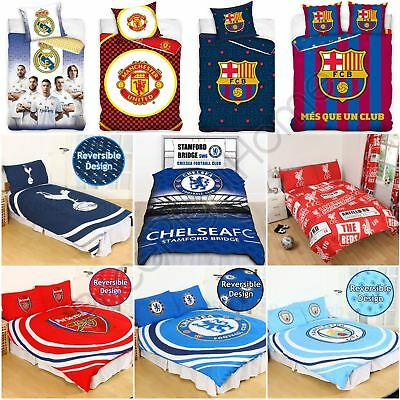 Football Clubs Duvet Cover Set Single Double - Arsenal Barcelona Chelsea & More • 21.80£