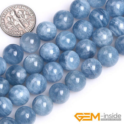 $ CDN25.04 • Buy Natural Blue Aquamarine Gemstone Round Loose Spacer Beads For Jewelry Making 15