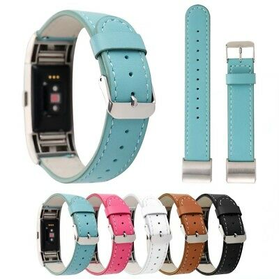 AU17.86 • Buy Cowhide Genuine Leather Watch Strap Wristband Bracelet Band For Fitbit Charge 2
