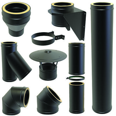 Black Twin Wall Flue Kit Pipe Fittings Bends Tees 5inch 125mm Convesa 25 Year • 87.49£