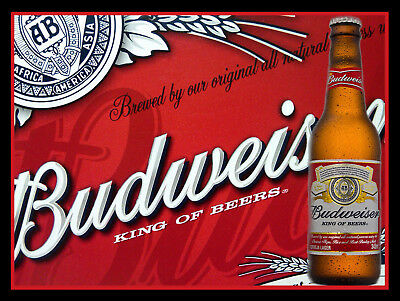 Budweiser Bottle, Retro Metal Plaque/Sign Pub, Bar, Man Cave Novelty Gift • 10.45£