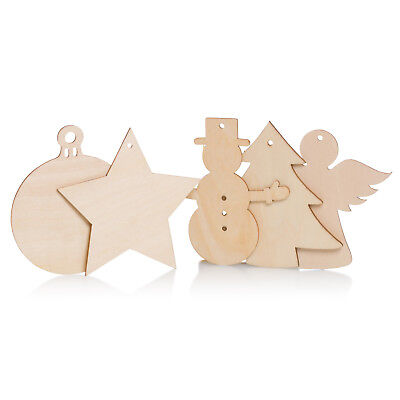 Wooden Christmas Craft Shapes Angel Snowman Bauble Xmas Tree Star 7cm 10cm Wood • 0.99£