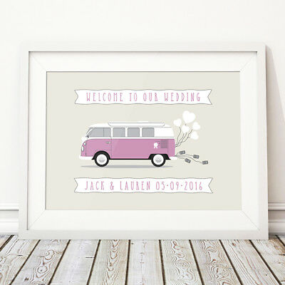 £8.49 • Buy Campervan Wedding Welcome Sign Decor Personalised Print Poster Van Camper Bus