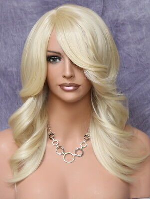 $107.95 • Buy Feather Side Human Hair Blend Back Straight Wig W. Bangs PALE BLONDE Yna 613