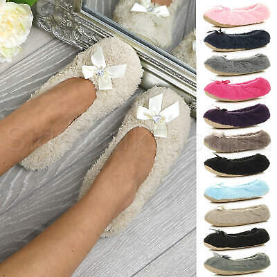 Womens Ladies Slip On Elastic Cosy Soft Fleece Gift Bow Heart Gem Slippers Socks • 8.99£