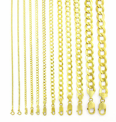 $233.11 • Buy 14K Yellow Gold Solid 1.5mm-12mm Cuban Curb Chain Link Pendant Necklace 16 - 30
