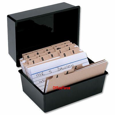 £17 • Buy RECORD CARD BOX + 300 CARDS + INDEX ~ 6x4 ~ 152x102mm SET ~ BLACK © RC64