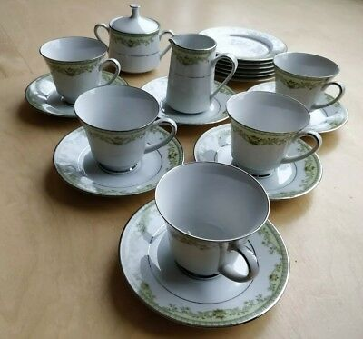 Vintage Noritake Tea Set - Green, White And Silver • 40£