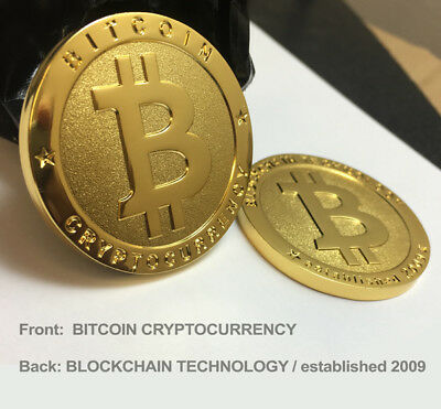 $3.99 • Buy 1 - BRAND NEW Physical Real 1oz BITCOIN Gold Plated 38mm Collectible BTC Coin
