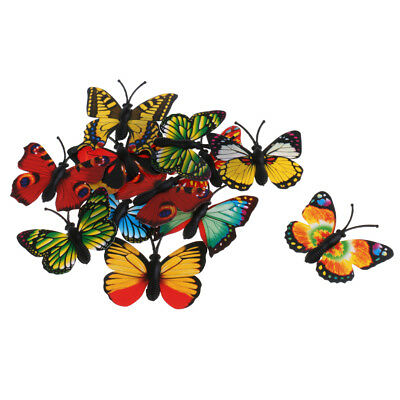 £2.64 • Buy 12pcs Multicolored Plastic Butterfly Action Figure Insects Model Kids Toy