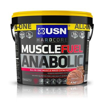 USN Muscle Fuel Anabolic All-In-One Muscle Mass Gainer 4kg Protein Powder Choco • 45.94£