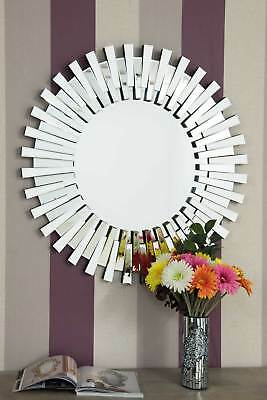 Extra Large Round Silver All Glass Starburst Wall Mirror Modern 3Ft 91cm • 122.99£