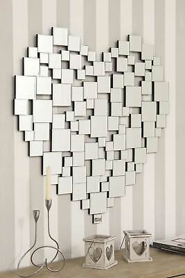 £122.99 • Buy Extra Large Wall Mirror Silver Modern Heart Shape Venetian Round 2Ft8 80cm