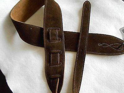 $ CDN37.60 • Buy Uk Made Comfy Brown Suede Leather Acoustic, Electric Or Bass Guitar Strap