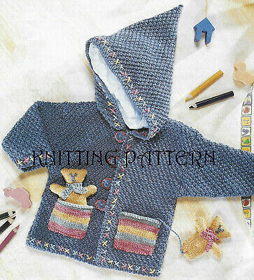 £2.99 • Buy Baby Boy's/girl's Hooded Jacket With Teddy KNITTING PATTERN 16 -22  Chest DK 193
