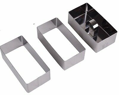 Set Of 3 Stainless Stainless Steel Large Rectangle Food Moulds Potato Rice ... • 7.99£