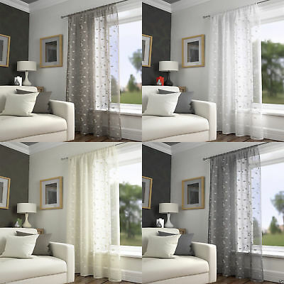 £14.99 • Buy Harrogate Leaf Embroidered Voile Net Curtain Ready Made Slot Top Single Panel