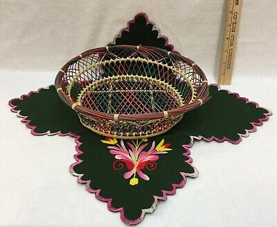 £9.02 • Buy Wicker Basket W/ Liner Embroidered Green Pink Bread Bowl Table Centerpiece