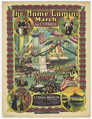 $24.99 • Buy The Home Coming March By E.T Paull, London Military Sailors VTG Sheet Music #43