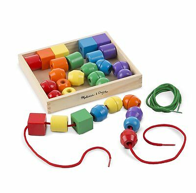 £10.80 • Buy Primary Lacing Beads Educational Toy 30 Wooden Beads Melissa & Doug 544