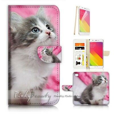 AU12.99 • Buy ( For Oppo A57 ) Wallet Case Cover P21197 Cute Pussy Cat
