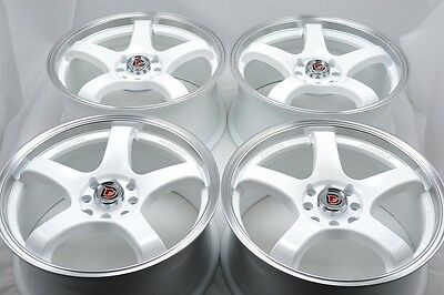 $479 • Buy 4 New DDR Fuzion 15x6.5 4x100/114.3 38mm White/Machined Lip 15  Wheels Rims