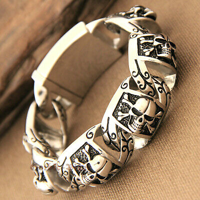 Men Heavy Pirate Skull Biker Motorcycle Chain Silver Stainless Steel Bracelet • 19.53£