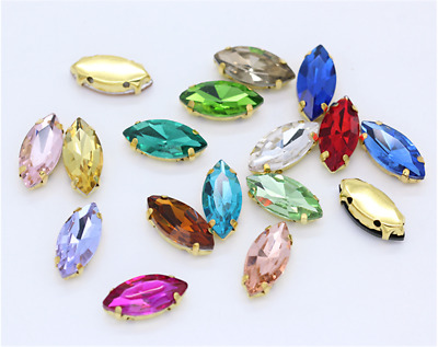 50pcs Sew On 7x15mm Navette Crystal Rhinestone Glass Golden Claw Dress Making • 4.59£