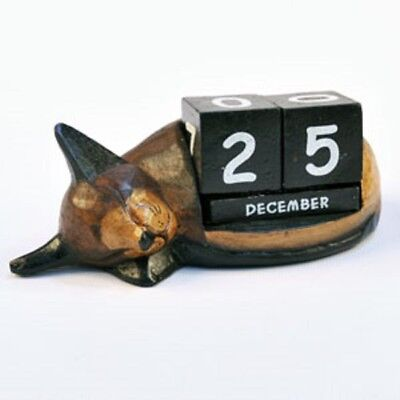 Shabby Chic Hand Carved Wooden Sleeping Cat Perpetual Block Desktop Calendar • 10.99£