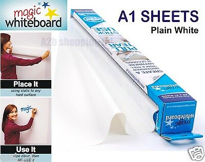 £10.99 • Buy Magic White Board A1 Sheet Dry Wipe Drawing Large Plain Roll Self Vinyl Sticky