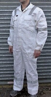 White Klm Proban Flame Fire Retardant Cotton Boilersuit Reflective Tape Overall • 12.99£