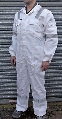 £12.99 • Buy White Klm Proban Flame Fire Retardant Cotton Boilersuit Reflective Tape Overall
