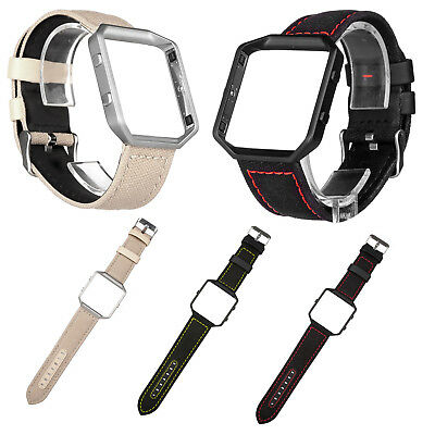 AU19.05 • Buy Dual Colors Fabric Leather Band Belt Strap W Metal Bumper Frame For Fitbit Blaze