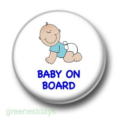 Baby On Board 1 Inch / 25mm Pin Button Badge Blue Boy Mum To Be Pregnant Bump • 0.99£