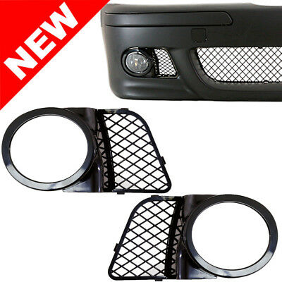 $29.99 • Buy 98-03 BMW E39 M5 Fog Light Mesh Covers Replacement - Gloss Black ABS Right+Left