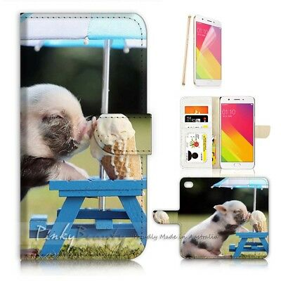 AU12.99 • Buy ( For Oppo A57 ) Wallet Case Cover P21277 Baby Pig Ice-cream