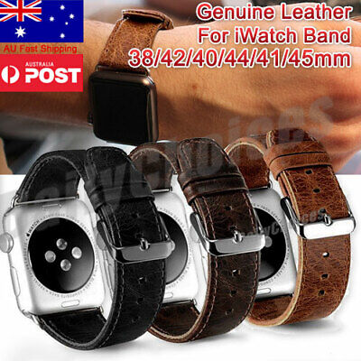 AU15.85 • Buy Leather Wrist Band Strap For Apple Watch 1/2/3/4/5/6 IWatch 38/42/40/44mm