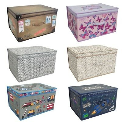 2 X Large Clothes Laundry Bedding Toy Storage Boxes Childrens Kids Chest Tidy • 19.49£