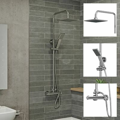 View Details Bathroom Thermostatic Mixer Shower Set Square Chrome Twin Head Exposed Valve • 54.99£