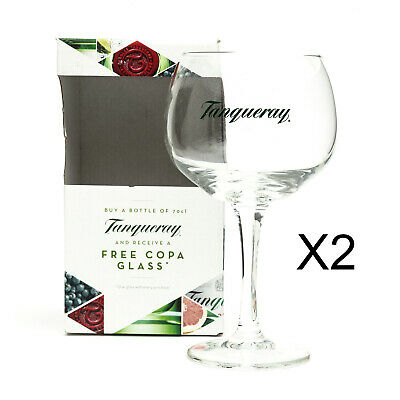 2 Tanqueray Copa Goblet Glass Gin Cocktail Wine Boxed New Balloon Gift Present • 19.99£