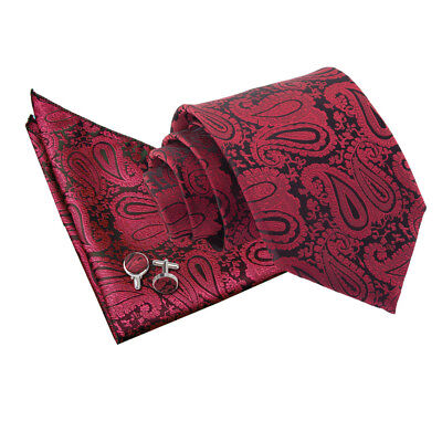 Mens Tie Hanky Cufflinks Set Woven Floral Paisley Burgundy Classic Skinny By DQT • 10.99£