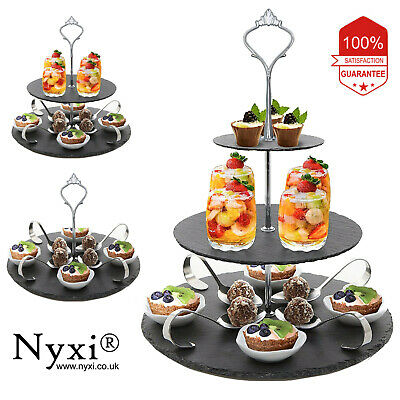 £18.99 • Buy 3 In 1 Cake Stand Afternoon Tea Natural Slate Wedding Plates Party Tableware