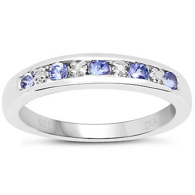 3mm Wide Sterling Silver Channel Set 0.45ct Tanzanite & Diamond Eternity Ring • 39.99£