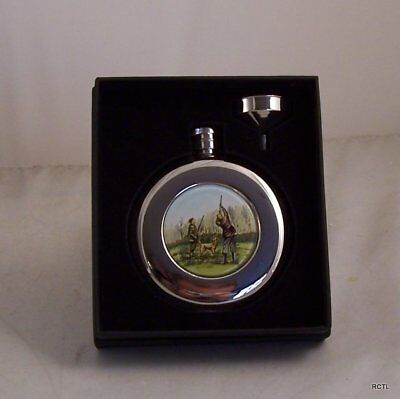 £16.99 • Buy Round Hip Flask 4.5oz Shooting Design With Funnel In Presentation Box