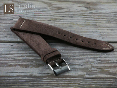 18 20 22 Genuine Italian Suede Leather LS VINTAGE COUNTRY Watch Strap Band Cocoa • 28£