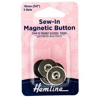 3 X Hemline Sew In Magnetic Nickel Snaps Purses Bags Jeans Garments Buttons 18mm • 3.99£