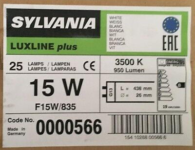2,4,8 PACK OF 15W T8 835  White FLUORESCENT TUBES 18 INCHES SYLVANIA 835 • 15.60£