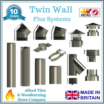 Twin Wall Insulated Flue Stove Pipe - 6 Inch (150mm) Stainless Steel • 20£