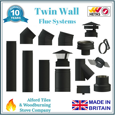 Black Twin Wall Insulated Flue Stove Pipe - 6 Inch Woodburning/Multi Fuel Stoves • 25£