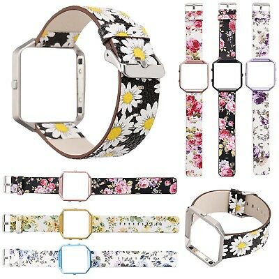 $ CDN17.74 • Buy Metal Frame Cover Floral Flower Leather Watch Band Wrist Strap For Fitbit Blaze